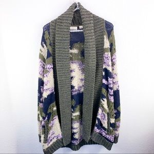 Anthro Campagne Camo Cardigan Sweater
